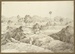 View of the Dungaye Hills from the road between Gurwya and Sherghati (Bihar); cattle and villager in the foreground. 19 February 1823